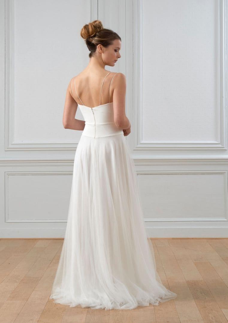 Robe de mariée Paul en crêpe et tulle - Lambert Créations