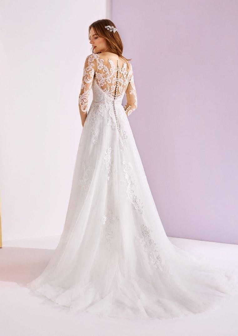 Robe de mariée Vexta longue jupe en tulle - White One