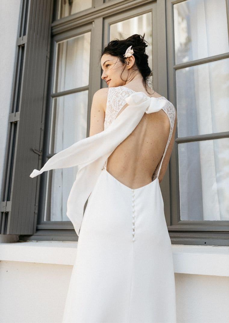 Robe de Mariée Athena dos nu graphique Lambert Créations