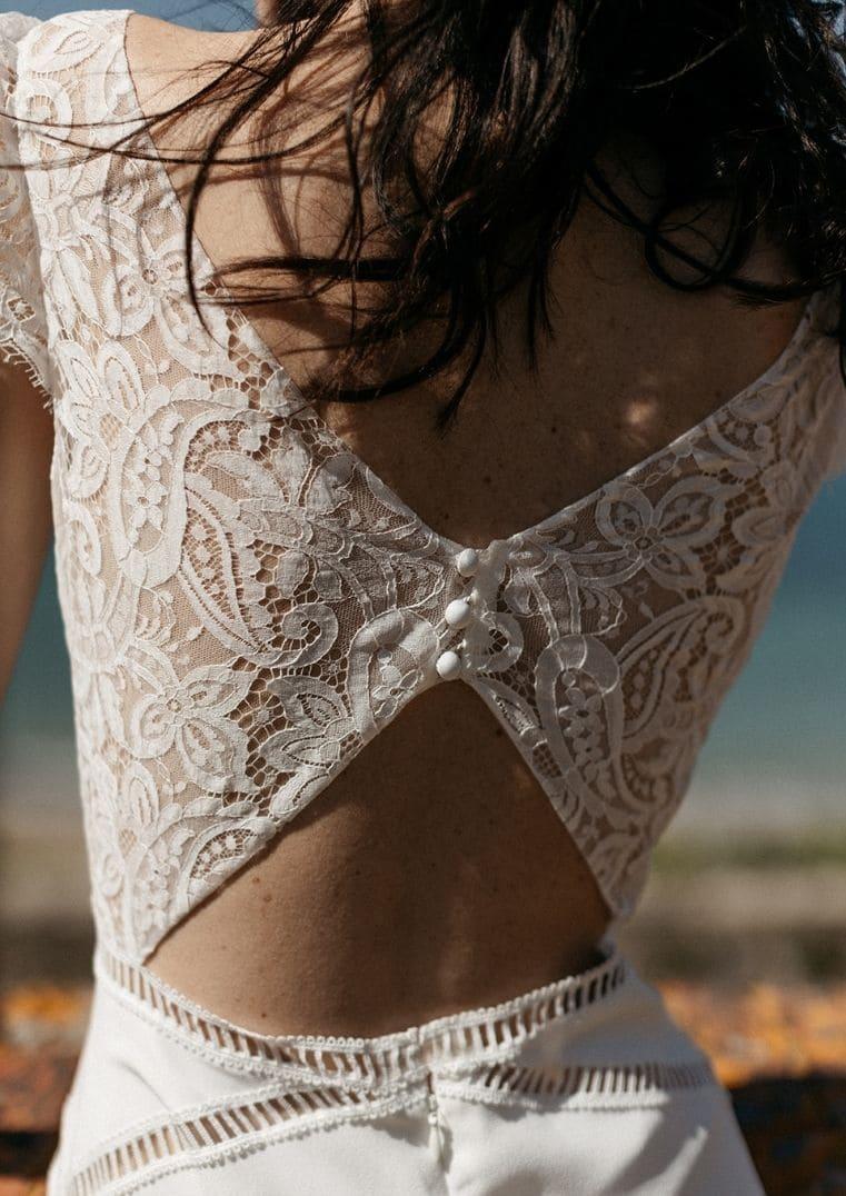 Robe de mariée Belem dos découpes graphiques