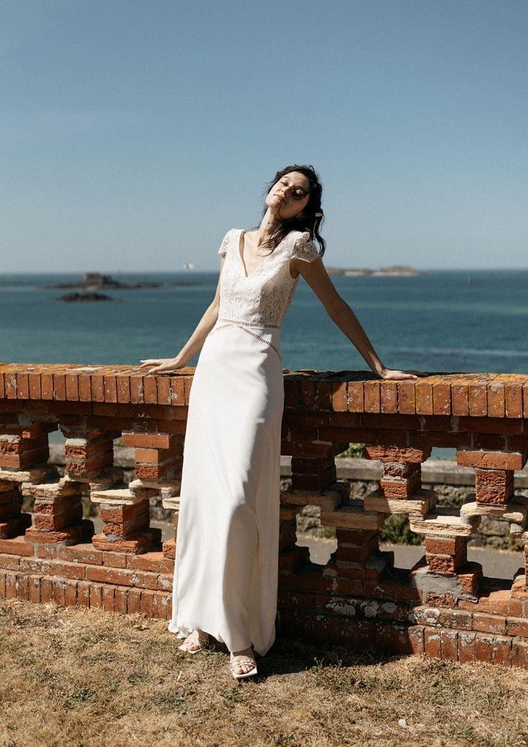 Robe de mariée Belem Lambert Créations en dentelle de Calais