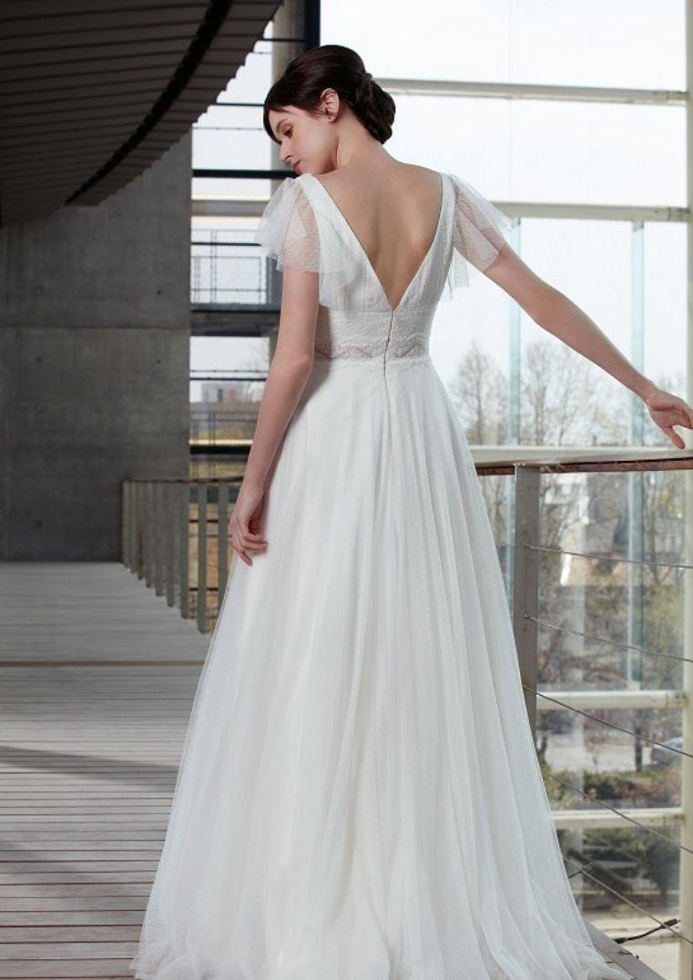 Robe de mariée coupe A dos nu - Liza Bochet Créations