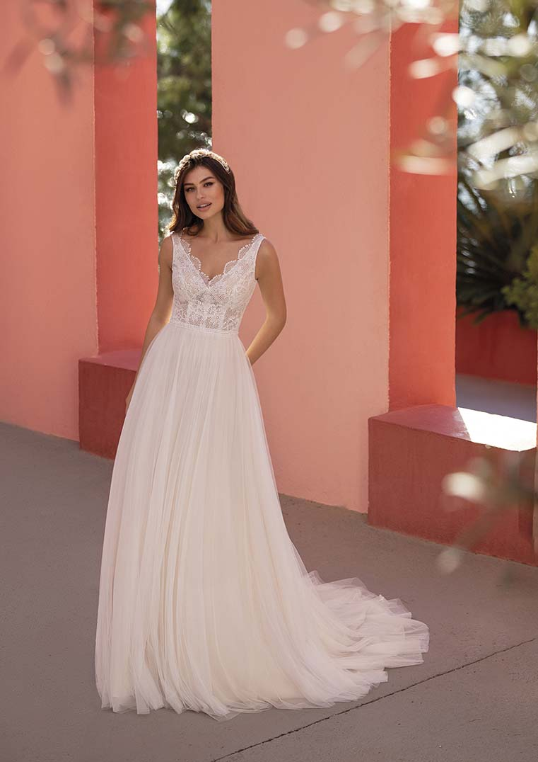 Robe de Mariée Phlox évasée en tulle - White One