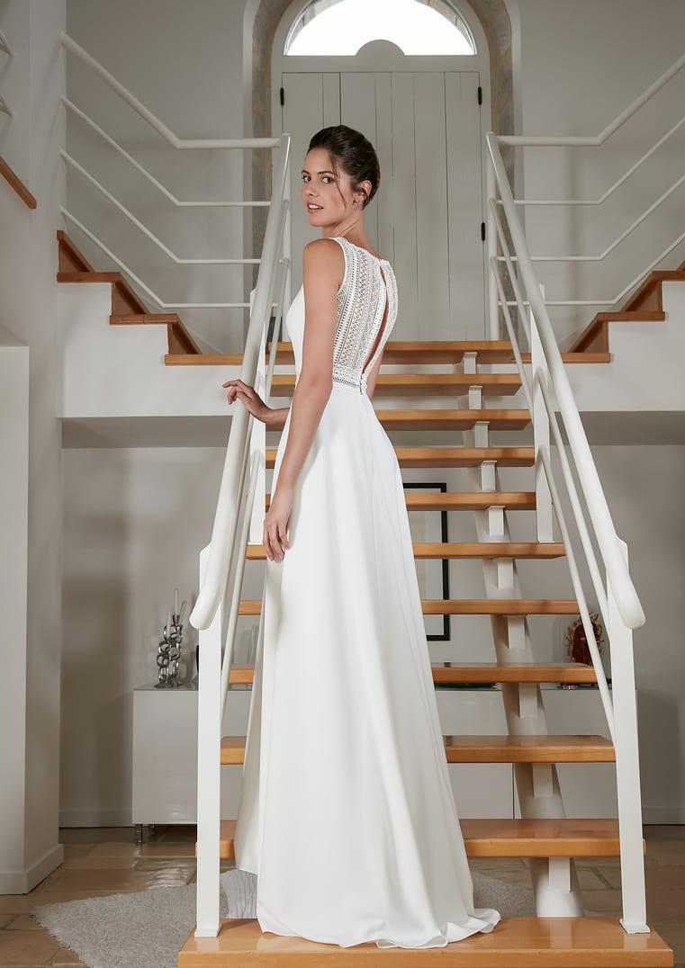Robe de mariée coupe A sans manches - Rosebury - Bochet Créations