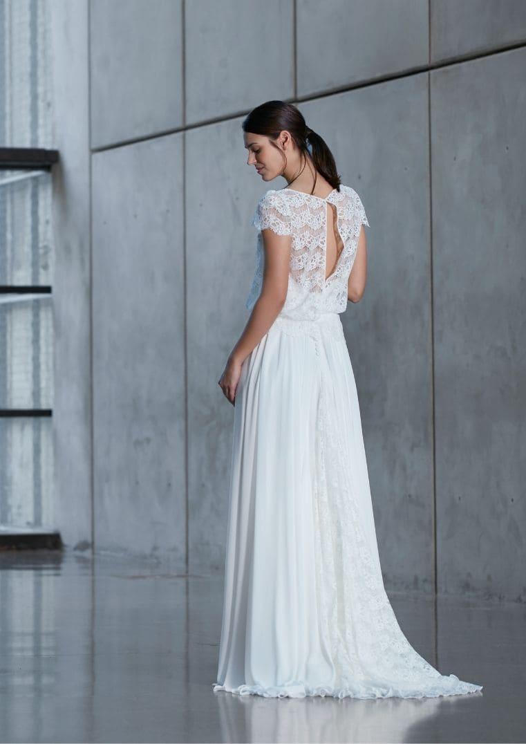 Robe de mariée Flora avec manches - Bochet Créations